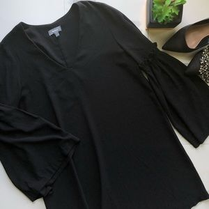 Neiman Marcus Black Long Bell Sleeve Shift Dress